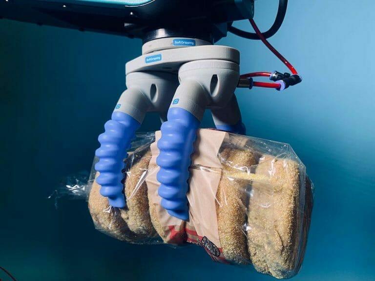 Bunbag en una pinza blanda operada por un robot fruitcore horst